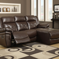 Sofa Lounger - Reclining / Brown Bonded Leather