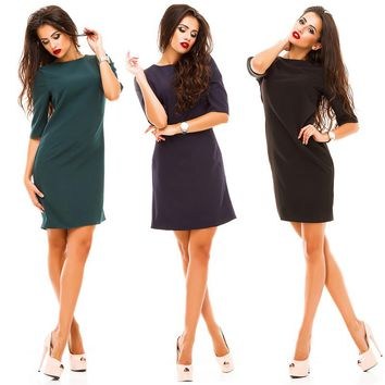 2018 Spring  Autumn women Casual Straight Dress Elegant o-neck Half sleeved back row of buttons Dress Bodycon party vestidos