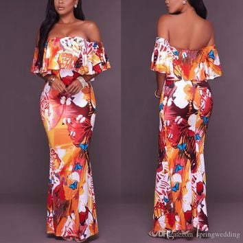 2019 Hot Sell Summer Bohemian Printed Casual Dresses Sexy Off Shoulder Flora Floor Length Long Women Vestidos FS5515