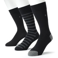 Chaps 3-pk. Striped & Solid Dress Socks - Men