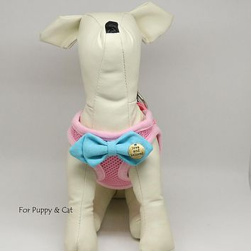 Puppy harness with bow tie, Strawberry Pink bow tie, Love and beloved, Mesh harness, Lightweight, Breathable, Comfortable,Washable harness