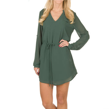 Naked Zebra Long Sleeve Drawstring One Pocket Dress - Kale