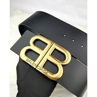 Balenciaga 2019 new women's classic double B metal letter smooth buckle belt Black