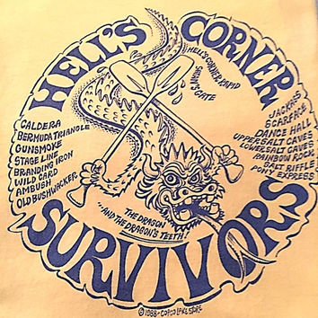 Vintage 1980s Yellow TShirt, Hell's Corner Survivors Tee Shirt Satan's Gate Dragon Whitewater Rafting - Hanes T-Shirt Made in the USA