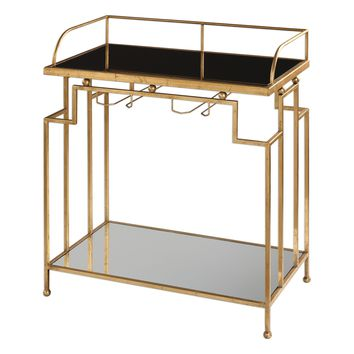 Burgess Antiqued Gold Leaf Bar Cart by Uttermost