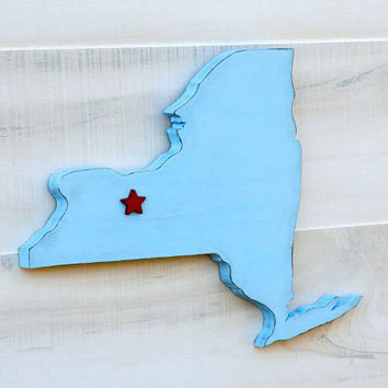 New York or any US state shape sign wood cutout wall art with heart or star. 24 Colors. Wedding Country Chic College Sports Fan Decor Gift