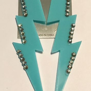 "6"" Blue Lightning Bolt Earrings"