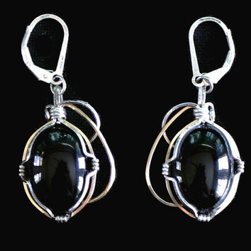 Black Onyx And Sterling Silver Earrings, Modernist Jewelry