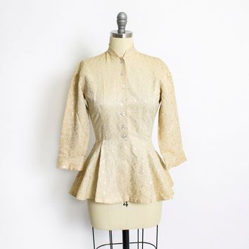 Vintage 1950s Peplum Jacket - Beige Brocade Top 50s - Medium M