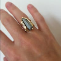 Quartz crystal point silver dipped ring with double gold plated bands
