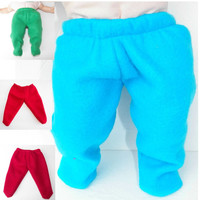 Bitty Baby Boy Clothes Pants Turquoise, Dark Red or Green Polar Fleece Footed
