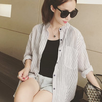 Simple striped collar shirt