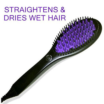 Hair Straightener Brush & Ceramic Dryer - Electric Straightening, Detangling & Styling Comb for Women, Zero Heat Damage, Anti-Scald, Anti-Static Bristles, US Plug - 1 Year Warranty