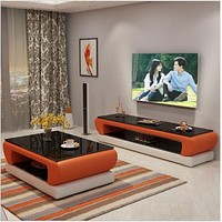 Unique  Leather  Coffee Table With Media Center  Furniture