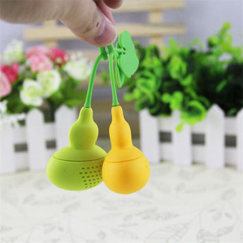 New Cute Creative Silicone Calabash Tea Infuser Diffuser Loose Tea Leaf Chain Strainer Herbal Filter Free Shipping