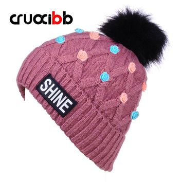 Brand Women's Pom Poms Hats with Flowers Winter Hat Ladies Solid Skullies Letter Beanie Floral for Women Girls Snow Cap Ski Caps