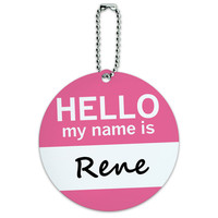 Rene Hello My Name Is Round ID Card Luggage Tag