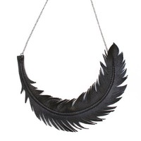 Supermarket: Black Feather Necklace - Black Leather and Gunmetal Chain from Love at First Blush