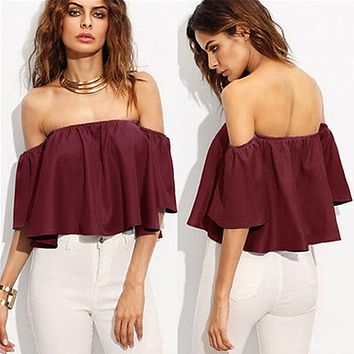 Summer Women Ladies Flare Short Sleeve Tank Tops Off Shoulder Blouse Shirts Ruffles Crop Top Cropped Tops Shirt Outfit Sunsuit