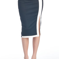 Black Colorblock Midi Skirt