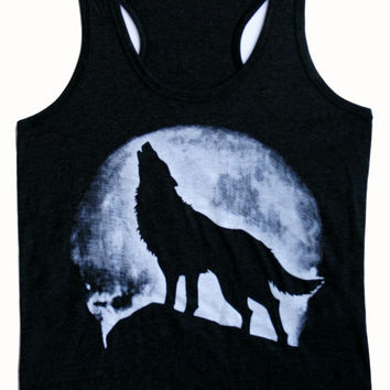Unisex Men Awesome Women tank top size S M L XL Shadow of the wolf moon tank top shirt singlet sleeveless Style Country