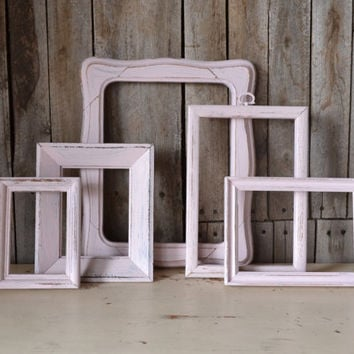 Set of 5 Shabby Chic Pink Frames