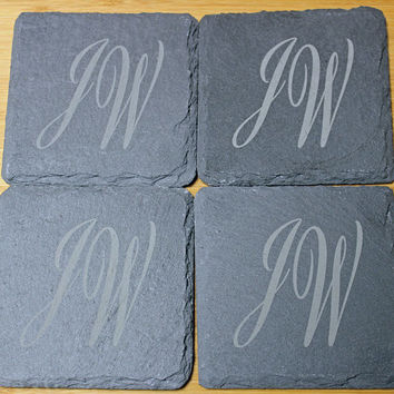 Slate coasters,  personalized coasters,  monogrammed coasters,  custom coasters,  personalized gift,  Christmas gift,  Set of 4