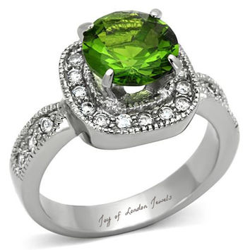 2.7CT Round Cut Green Peridot & Russian lab Diamond Halo Ring