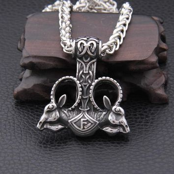 Dropshiping new arrival stainless steel Viking Goat Mjolnir thor hammer rune pendant necklace men gift