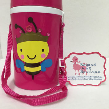 Personalized large water bottle, Queen Bee, free shipping! 39oz flip-top plastic bottle,handy carry strap,blinging, customizable, monogram