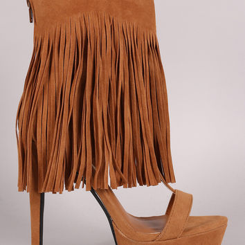 Privileged Suede Long Fringe Cuff Stiletto Platform Heel