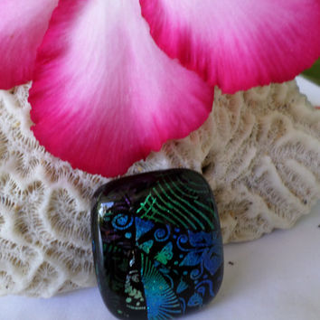 Teal Purple Blue Dichroic Glass Cabochon Cab  Mosaic Dichroic Pendant  Colorful Vibrant Mosaic Fused Glass  PMC Wire Wrap