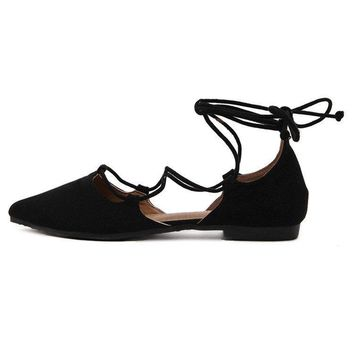 Big Size Black Suede Strappy Pointed Toe Flat Lace Up Shoes