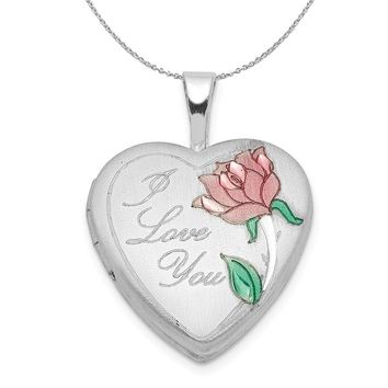 Sterling Silver and Enamel 16mm I Love You Rose Heart Locket Necklace