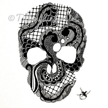 Skull ink drawing, skull, black and white, zentangle, zendoodle, original art