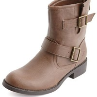 Zip-Back Double Buckle Bootie: Charlotte Russe