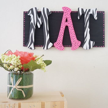 Personalized Hand Painted Zebra Print and Black and Pink Polka Dots Name Initials Wood Wall Letters Wall Sign