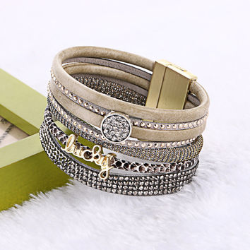 Fashion Bohemia Rhinestone Wide Magnetic Leather Multilayer Bracelets For Women Men Trendy Rhinestone Lucky Letter Bangles