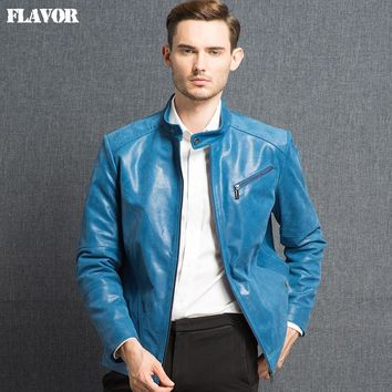 Men's real leather jacket Genuine Leather jacket men leather coat ocean blue