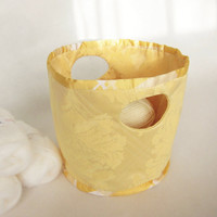 Storage Basket of Jacquard fabric Home decor yellow fabric woven flowers design bin Round cloth empty pocket Easter Gift Idea