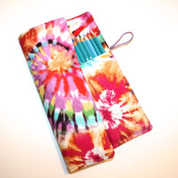 Artists Pencil Roll-Up Case for Pencils, Markers, Sharpies, Art Supplies Case Tie Dye Pink, Teal, Purple, Yellow