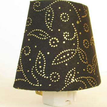 Black Shade Night Light - Gold Paisley Flower Night Lights - Master Bedroom Decor - Bathroom Lighting - Nightlight