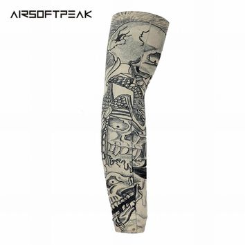 Nylon Stretchy Sunscreen Arm Sleeves Breathable Skull Skeleton UV Protective Cuff Sleeves Cycling Hiking Running Arm Stockings~