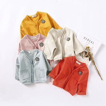 2017 Spring Autumn Newborn Baby Girls Cotton Candy Colors Knitting Weave Cardigan Coat Jacket Long Sleeve Kids Knitted Clothes