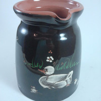 German Red Ware Jug with Duck Schoffel