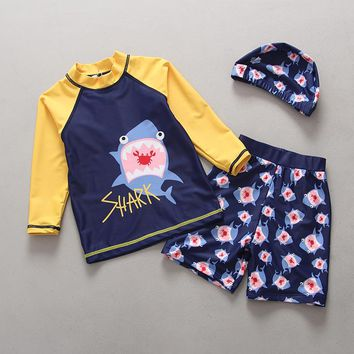 Swimsuits for Children 2018 Toddler Swimwear Two Pieces Long Sleeve Rash Guards Swimming Trunks Set Cute Shark Boys Swimsuit