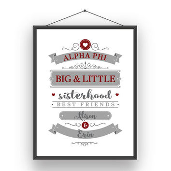 Alpha Phi Big Little Sorority Sister Print - Ready To Frame // Customize With Names