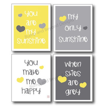 Yellow and Grey NURSERY WALL ART Room Decor You Are My Sunshine Set of 4 Digital Files Boy or Girl Instant Download Baby Shower Gift 004