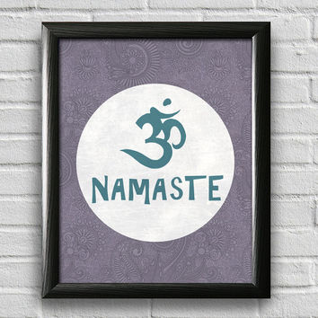 Namaste Om Print, Yoga Print, Yoga Studio Decor, Typography Poster, Wall Art, Inspirational Print, Yoga Poster, Motivational Art
