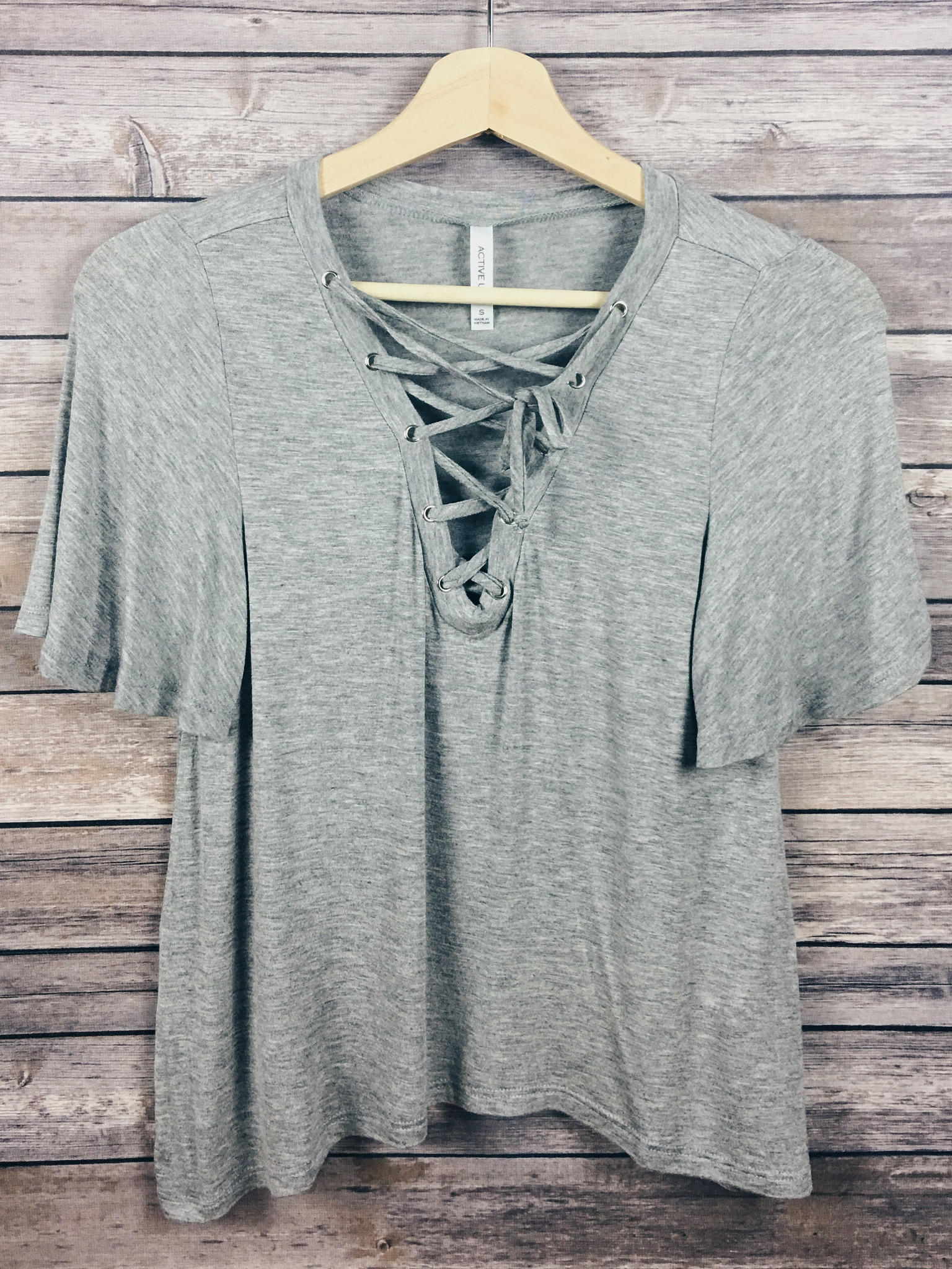 914d9a7379 Brooklyn Lace Up Top (Heather Grey) from Shop Devi